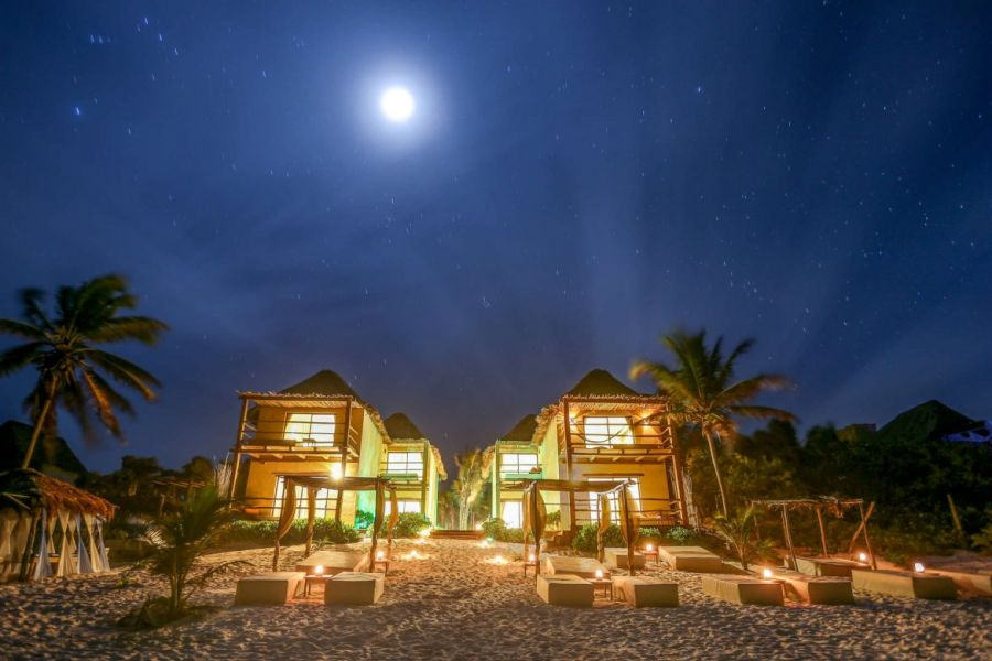 Night view of ArenaBlue Boutique Hotel from the beach