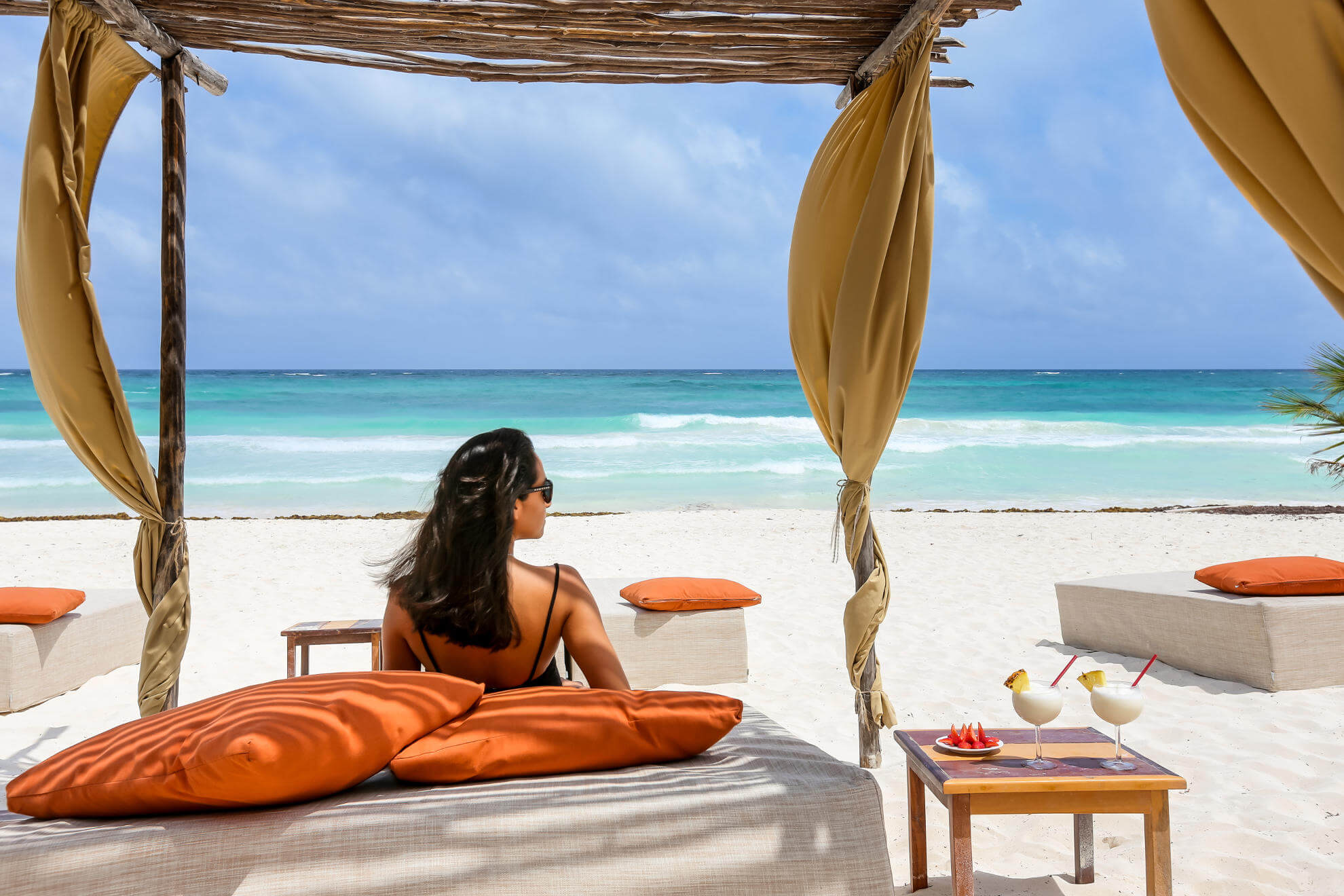Relaxing on Tulum beach at boutique hotel ArenaBlue Tulum